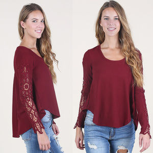 Altar'd State Lace Inset Long Sleeve Piper Top